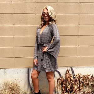 Grey Plaid Bell Sleeve Dress