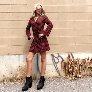 Maroon Plaid Dress