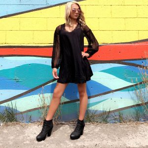 Black Velvet Hooded Dress